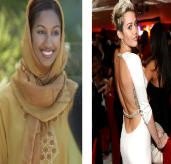 Modest style of dressing of Muslim women Vs. the provocative style of celebrities among American celebrities.
